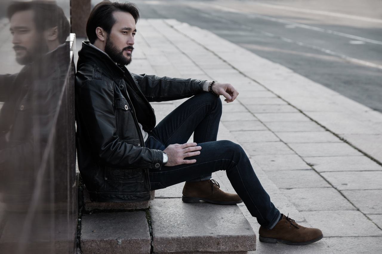 Fashion man with beard and jeans